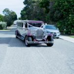 Vintage limousine arriving at wedding