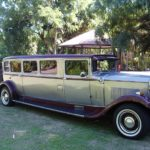 Vintage limousine parked in the garden